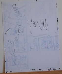 DOUGLAS PASZKIEWICZ original art, ARSENIC LULLABY BIG STALL pg 11, 11x14, prelim