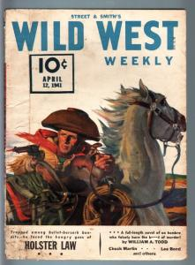 WILD WEST WEEKLY 4/12/1941-WESTERN PULP-HOLSTER LAW VG/FN