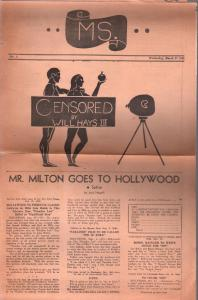MS. #1 1940-early underground newspaper-spicy films-censorship-1st issue-G