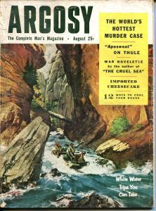 Argosy 8/1954-Popular Pubs-cheesecake pix-pulp thrills-FR