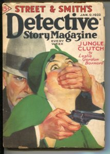 Detective Story 1/9/1932-Gun moll cover-Jungle Clutch-Leslie Gordon Baynard-P...