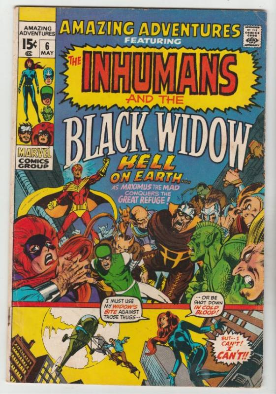 Amazing Adventures #6 (May-71) FN/VF- Mid-High-Grade Black Widow, Inhumans