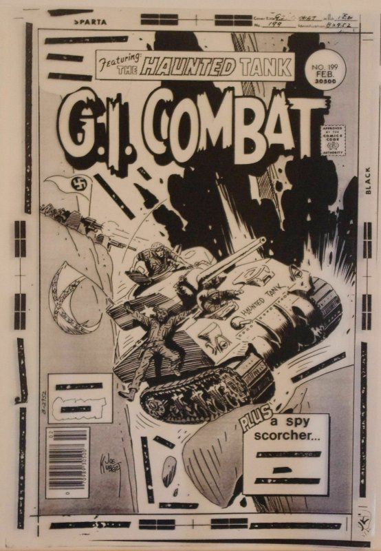 GI COMBAT #199 original transparency cover art, Joe Kubert, Haunted Tank, WWII