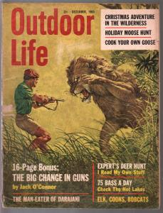 Outdoor Life 12/1965-animal attack cover-horror-Walter Baumhofer-gun ads-G-