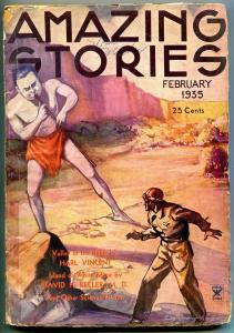 Amazing Stories Pulp February 1935- Harl Vincent- David H Keller