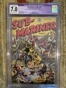 Sub-Mariner Comics #12 (1943)- Timely Comics - CGC 7.0 - Alex Schomburg cover