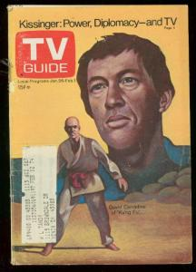 TV Guide January 26 1974- Central Ohio Edition- David Carradine Kung Fu