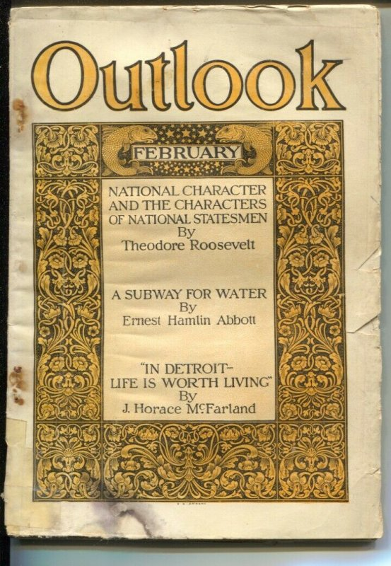 Outlook 1/23/1909-Teddy Roosevelt article-cover says Feb-FR