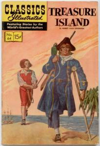 Classics Illustrated #64 HRN 158 - Treasure Island   FN 6.0