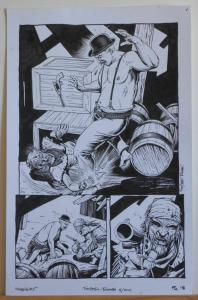 TIMOTHY TRUMAN original art, HAWKEN #5, Pg #18, Knife Fight,Guns, 11x17, 2011