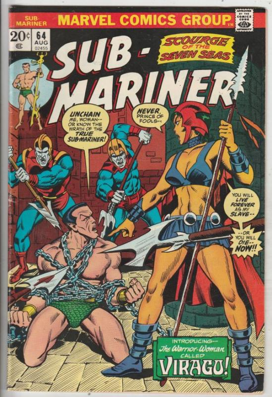 Sub-Mariner #64 (Aug-73) VF High-Grade Sub-Mariner (Prince Namor)