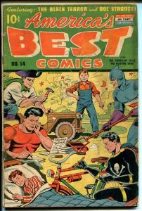 AMERICA'S BEST #14 1945-NEDOR-BLACK TERROR-FIGHTING YANK-HITLER-FUNNY ANIMALS-vg