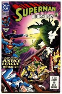 SUPERMAN #74-DOOMSDAY COVER-DC-HTF-3RD PRINTING-1992.
