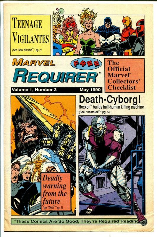 Marvel Requirer #3 1990-info on upcoming Marvel issues-FN