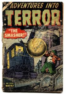 Adventures in Terror #28 1954 comic book skull wrecking ball cover- Atlas horror