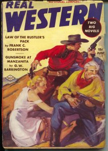 Real Western 6/1938-Double Action-Good Girl Art-Gunsmoke At Manzanita-VG