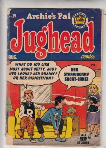 Jughead, Archie's Pal #19 (Aug-53) GD- Affordable-Grade Archie, Betty, Veroni...