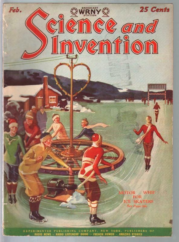 Science & Invention 2/1928-Gernsback-ice skaters-Dunninger-Frank R Paul-VG/FN
