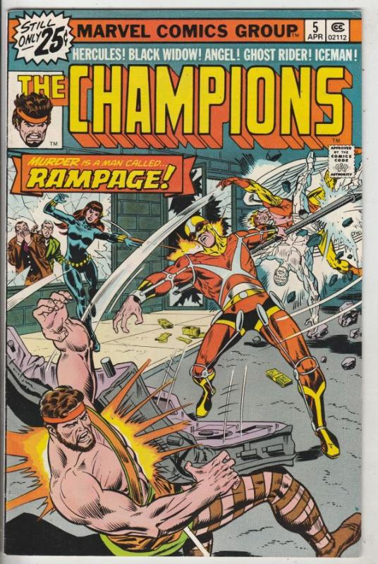 Champions, The #5 (Apr-76) VF/NM High-Grade Ghost Rider, Hercules, Black Wido...