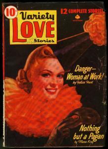 Variety Love Stories Pulp December /1941-MASK COVER Rare Romance VG