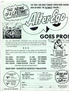 Alter Ego Fanzine Promotional Flyer 1968- Gil Kane- Joe Kubert