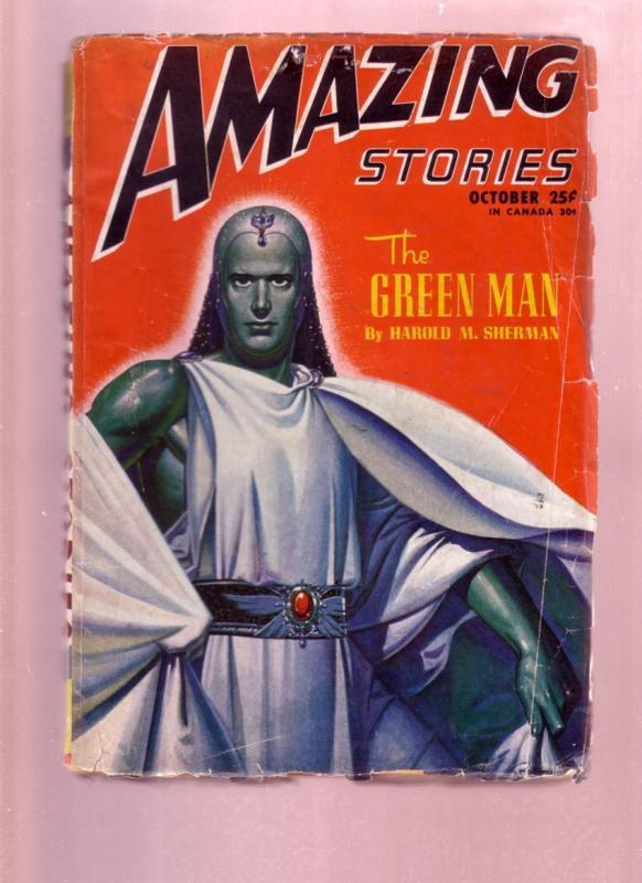 AMAZING STORIES OCT 1946  PULP-THE GREEN MAN STORY  SF-good condition G