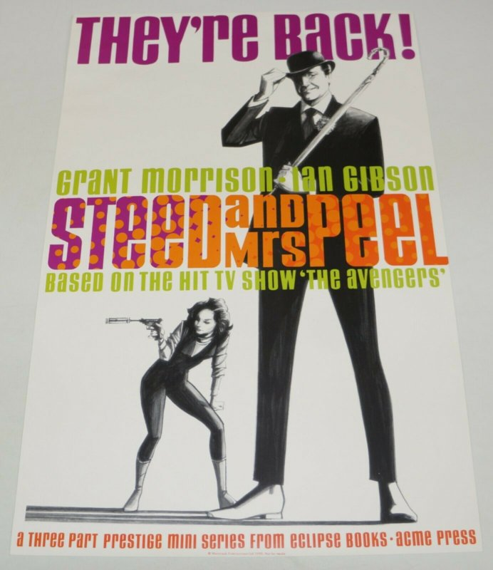 Steed and Mrs Peel poster VF grant morrison - ian gibson - based on hit tv show