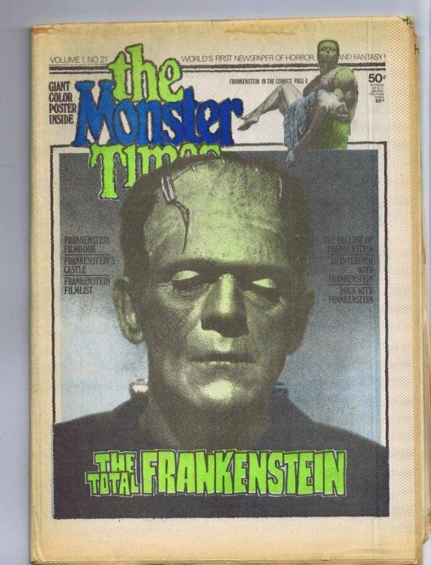 ORIGINAL Vintage 1973 The Monster Times Horror Newspaper Magazine #21