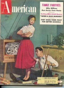 American Magazine 5/1954-TV ser cover-Nero Wolfe-Rex Stout-pulp fiction-class...