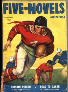 FIVE NOVELS MONTHLY-NOV 1942---ADVENTURE-PULP-FOOTBALL GAME COVER