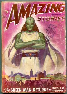 Amazing Stories Pulp December 1947- The Green Man Returns- Wild cover G/VG