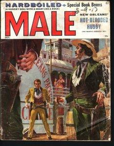 MALE PULP-OCT 1956-ANITA EKBERG CHEESECAKE-GUNFIGHT COVR-MORT KUNSTLER ART- FR