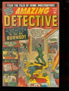 AMAZING DETECTIVE CASES #5 1951-HANGING-VIOLENT-BURNED  FN-