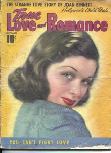 True Love and Romance 9/1939-Joan Bennett pin-up cover-spicy scandals-exploit...