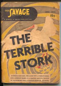 Doc Savage 6/1945- The Terrible stork-hero pulp-VG