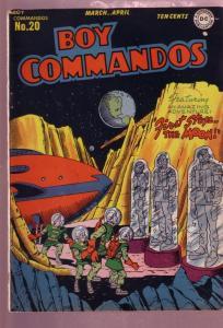 BOY COMMANDOS #20 1947-FIRST STOP THE MOON-ROCKET-SCIFI FN