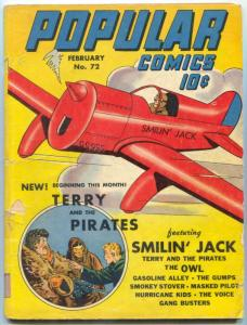 Popular Comics #72 1942- 1st Owl & Terry and the Pirates in title VG-