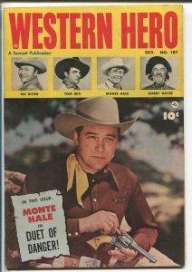 WESTERN HERO #107 1951-FAWCETT-MONTE HALE-TEX RITTER-TOM MIX-GABBY HAYES-vf