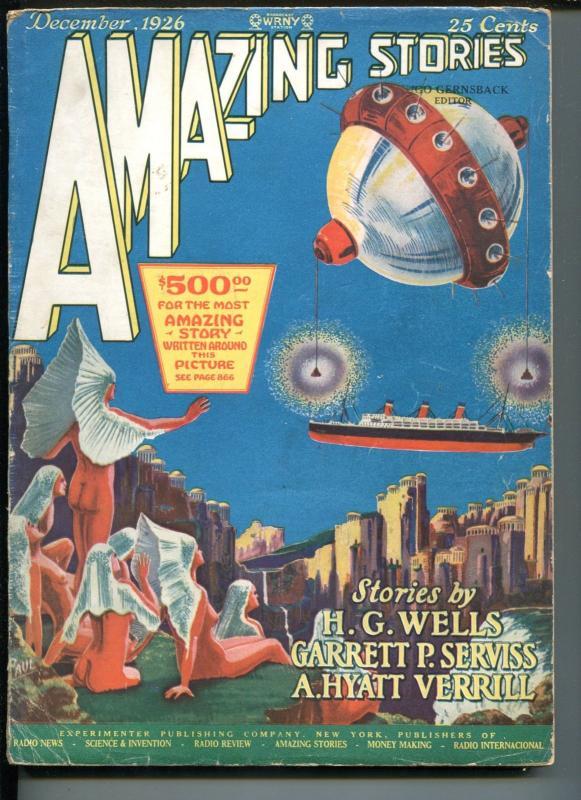 AMAZING STORIES #9-12/1926-GERNSBECK-1ST SCI-FI PULP-H G WELLS-FRANK R PAUL-vg+