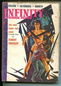 Infinity Science Fiction 3/1958-Royal-Robert Silverberg-EMSH Good Girl art-VG