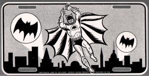 Batman Car License Plate 1966-B & W-unused-6 X 12-DC Comics-VF/NM