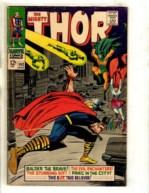 Thor # 143 FN- Marvel Comic Book Loki Odin Sif Avengers Hulk Iron Man GK4