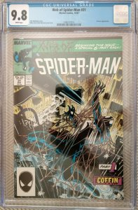 Web Of Spider-Man #31: Kraven's Last Hunt Part 1 - Spidey buried alive.