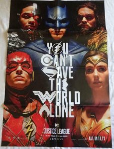 JUSTICE LEAGUE DOUBLE SIDED Promo Poster , 27 x 39,  2017, DC,  Unused 101