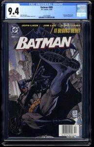 Batman #608 CGC NM 9.4 White Pages Hush Begins!