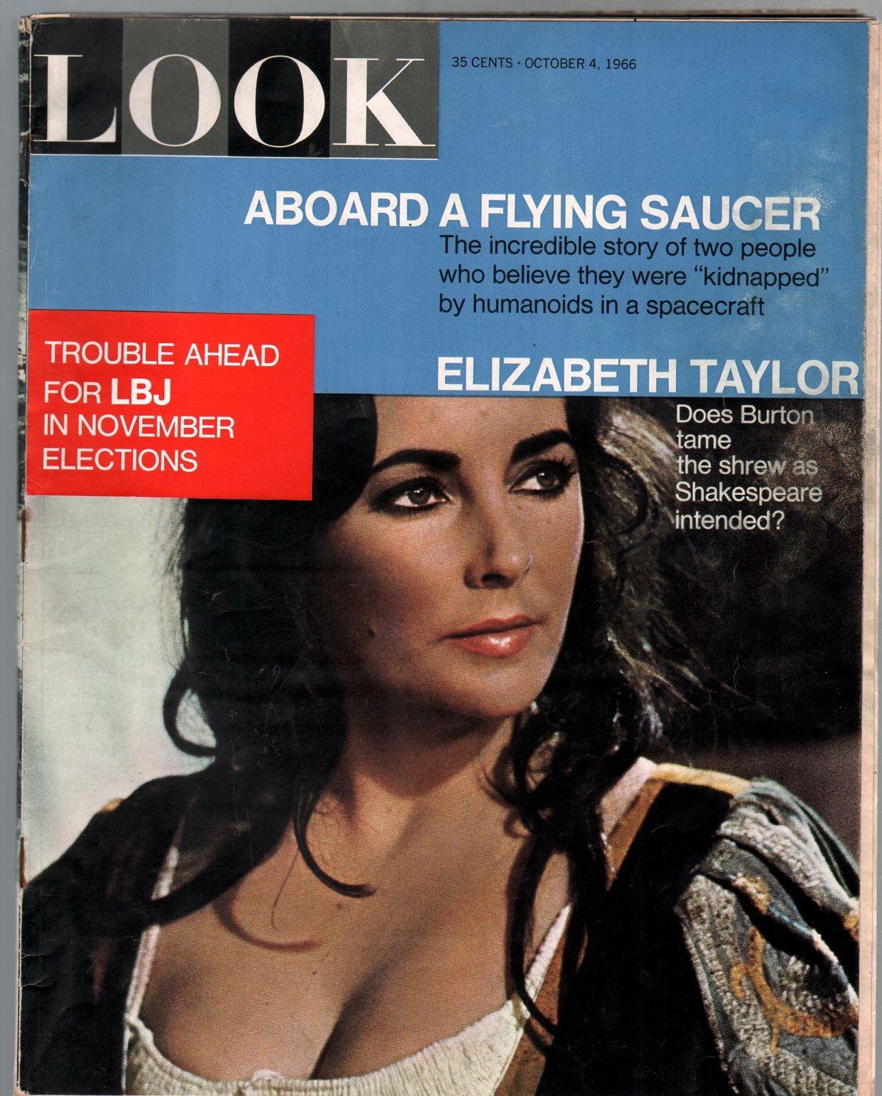 Look 10/4/1966-Cowles-Liz Taylor-LBJ-Aboard A UFO-VG / HipComic