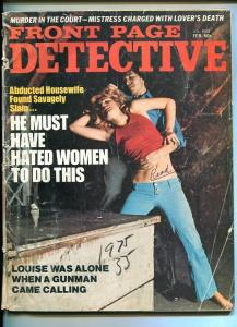 FRONT PAGE DETECTIVE-FEB. 1975-ABDUCTED-SAVAGELY-GUNMAN-TERROR-ROBBERY FR/G