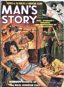 MAN'S STORY-NOV-1961-NAZI TORTURE COVER-WEIRD MENACE-HORROR CULT--BONDAGE