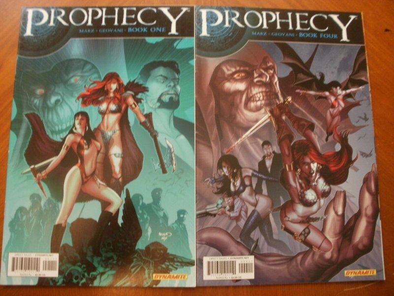 2 Near-Mint Dynamite PROPHECY Comic Book #1 #4 (Vampirella Red Sonja) Marz