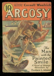 ARGOSY DEC 12 1936-L RON HUBBARD-WILD SHARK COVER-DENT VG